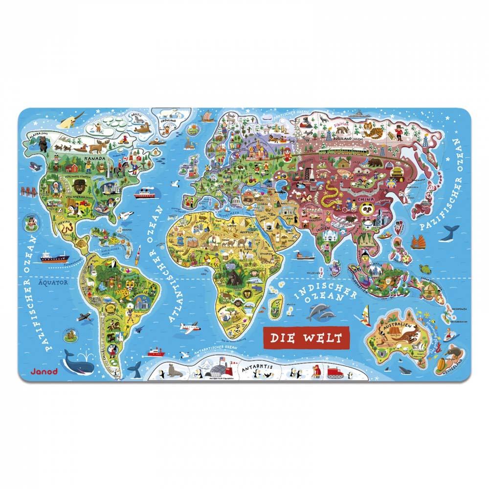 Die Welt Karte.Janod Magnetpuzzle Weltkarte 92tlg Spick Shop